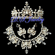 Pearls & Colourful Swarovski Crystal Rhinestones Neklace & Earring & Crown/Tiara