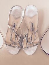 Authentic JIMMY CHOO woman silver leather crystals shoes sandals 36.5 Italy