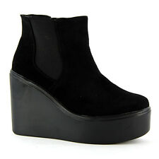 Womens Black Ankle Chelsea Boot Ladies Wedge Mid High Heel Platform Bootie Size