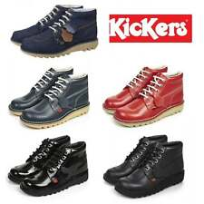 Kickers KICK HI Ladies Womens Denim Patent Leather School Ankle Boots Size 36-42