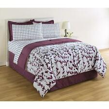 ALL SIZES  8pc Vertical Vines & Dots Comforter & Sheet Set TWIN FULL QUEEN KING