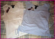 NWT LOT 2 GIRLS JUNIORS STRETCH WHITE BLUE SLEEVELESS SUMMER TOPS~ S M