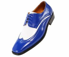Bolano Mens Two-Tone Royal and White Oxford Dress Shoe: Style P1056-052