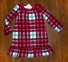 NWT GYMBOREE NIGHTGOWN *RUFFLED RED PLAID FLEECE* - GIRLS SIZES U PICK 2T - 6YR
