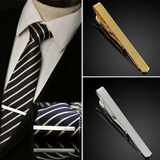 Premium Mens Gunmetal Black Metal Tie Bar Holder Clip Simple Clasp