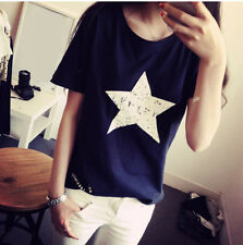 Women Summer Casual Shirt Pentagram Hot Top Blouse Cotton Loose Ladies