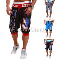 Mens Jogger Casual Sports Shorts Baggy Harem Cropped Pants Hip Hop Rope Trousers
