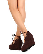 New Women DbDk Meryle-1 Faux Suede Almond Toe Lace Up Platform Wedge Heel