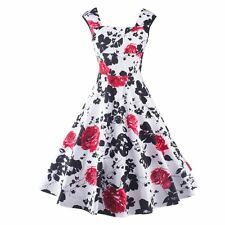 Women's Vintage Floral Retro Swing Summer Housewife Rockabilly Pinup Party Dress