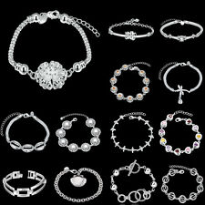 Wholesale Fashion Gift Jewellery 925 Solid Silver Charm Bracelet Chain Bangle