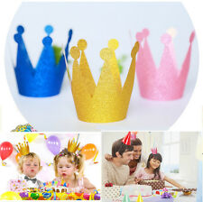 6pcs Shimmer Paper Kids Adult Birthday Party Hat Crown Tiara Prince Princess