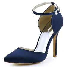 HC1602 Navy Blue Satin Close Toe Ankle Strap High Heel Evening Party Court Shoes