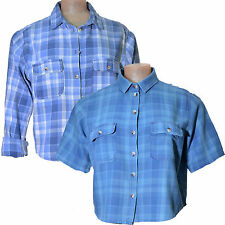 Denim Shirt blue long or short sleeve button front cropped length UK size 10 12