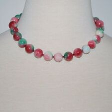 Apple green and red jade necklace