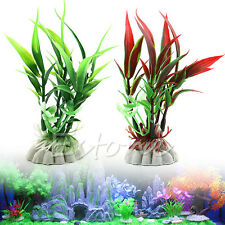 Fish Tank Aquarium Bamboo Plastic Leaf Artificial Water Plant Decor Ornament