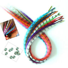 12s/pack Women Girls' Multicolour Grizzly Rooster Feather Hair Extensions +Beads