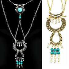 Lady Vintage retro Turquoise Tassel Pendant Long necklace Sweater Chain xin