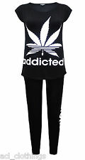 New Women's ADDICTED Printed Summer Sport Tracksuit Jumper Top Jogger Pants Set