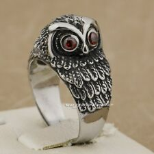 316L Stainless Steel Red CZ Eyes Charming Owl Biker Punk Ring AB03A