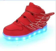 New Boys Girls Luminous Kids USB Sneakers Casual Shoes LED Light up Cute Shoes