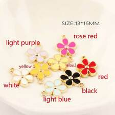 Fashion 10PCS Gold Tone Enamel flower Charms Pendants DIY Jewelry Making 13x16mm