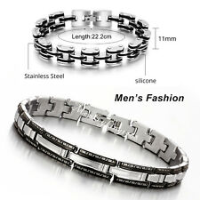 Hot Men's Bracelet Cuff Bangle Wristband Silver Black Stainless Steel Link Chain