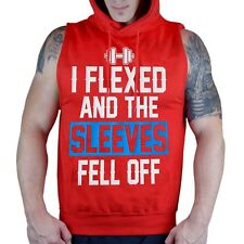 Men's Flexed and The Sleeves Fell Off Red Sleeveless Vest Hoodie Workout Fitness