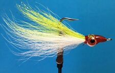 (3pk) Saltwater fishing Red Eye CLOUSER DECEIVERS Flies Fluke Sea Bass CMR1001