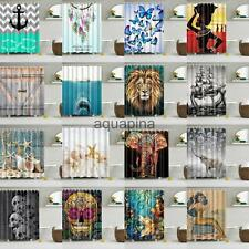 Assorted Pattern Bathroom Shower Curtain Waterproof Panel Fabric Sheer With Hook