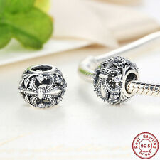 Authentic 925 Sterling Silver CZ Charm Bead fit European Charm Bead Bracelet