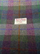 Harris Tweed Fabric & labels 100% wool Green & Purple check -  ideal for craft
