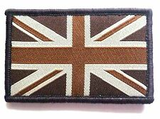 EMBROIDERED BRITISH FLAG PATCH velcro GB retro brown Army Soldier no-413