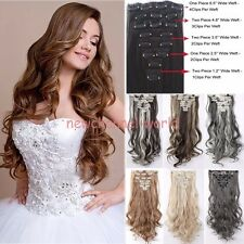 Real Thick Clip In On Hair Extension Long Straight Curly Full Head as human Hair