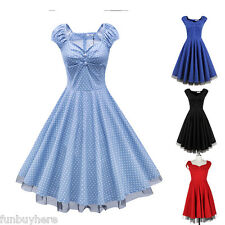 50s Swing Womens Cap Sleeve Rockabilly Evening Full Circle Party Vintage Dress