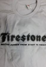 New Men's Silver White Vintage Firestone Logo Tee T Shirt L XL 2X Better Rubber