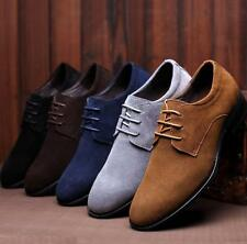 England Classic Mens Suede Pointy WingTip Shoes Casual Trend Dress Oxford 5color