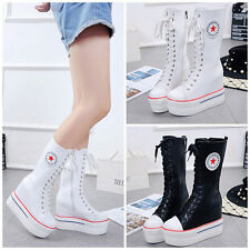 New Womens Shoes Fashion Canvas Sneakers Lace Up Knee High Platform Wedges Boots