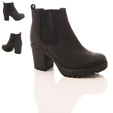 LADIES WOMENS BLACK CHELSEA ANKLE BOOTS CHUNKY MID HEEL GUSSETT SHOES SIZE