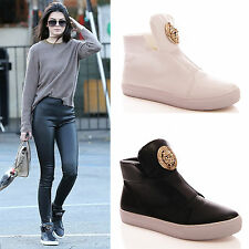 LADIES WOMENS HI TOP TRAINERS DESIGNER FLAT CASUAL FASHION SNEAKERS SHOES SIZE