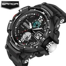 Hot Mens Stainless Steel LED Digital Date Army Sport Analog Quartz Wrist Watch