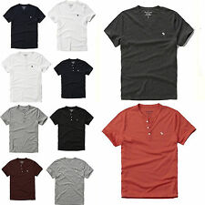 Nwt Abercrombie By Hollister Men's Solid T Shirt Henley New