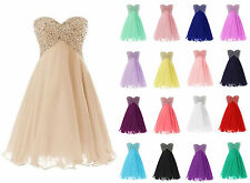 Short Beads Bridesmaid Cocktail Evening Homcoming Dress Wedding Party Prom Gown