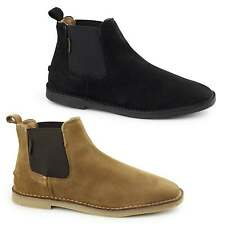Hush Puppies SELBY Mens Suede Leather Pull On Casual Wide Chelsea Desert Boots