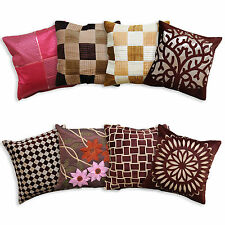 "Luxury Cushion Covers Elegant Modern Designs High Quality Brown Check 18"" Or 20"""