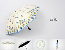 Womens Rain/Sun Umbrella Anti-UV Parasol Freehand Flower Printing Folding Manual