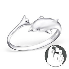 925 Sterling Silver Toe Ring Gorgeous Dolphin Adjustable Jewellery Midi Gold