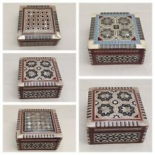 Egyptian Handmade Mother of Pearl Inlaid Mosaic Wood Jewelry Box.