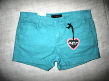 Candy Hearts by Hartstrings-Girls Stretchy Short Shorts-Capri Blue-Brand New