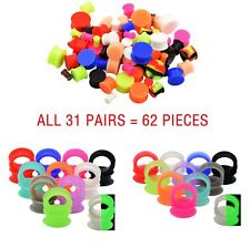 31 Pairs Silicone Flesh Tunnels+Saddle Ear Plugs Streching-Gauge Kits US Stock