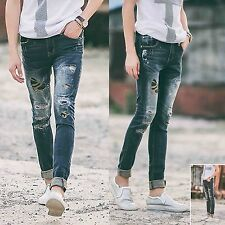 Men Blue Skinny Camouflage Denim Distressed Frayed Ripped Trousers Pants Jeans
